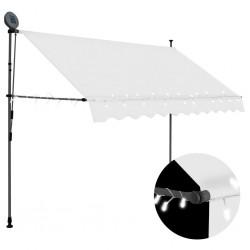 stradeXL Ręcznie zwijana markiza z LED, 250 cm, kremowa