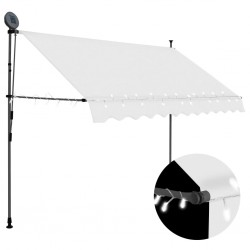 stradeXL Manual Retractable Awning with LED 300 cm Cream
