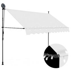 stradeXL Ręcznie zwijana markiza z LED, 300 cm, kremowa