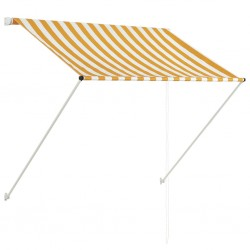 stradeXL Markiza zwijana, 100 x 150 cm, biało-żółta