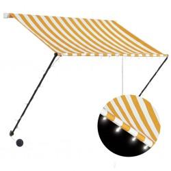 stradeXL Markiza zwijana z LED, 150 x 150 cm, żółto-biała
