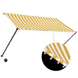 stradeXL Markiza zwijana z LED, 250 x 150 cm, żółto-biała