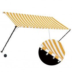 stradeXL Retractable Awning with LED 250x150 cm Yellow and White