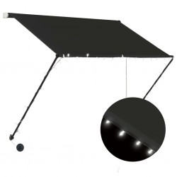 stradeXL Retractable Awning with LED 100x150 cm Anthracite