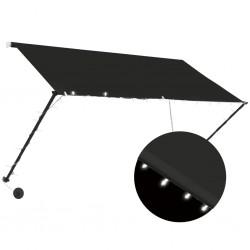 stradeXL Markiza zwijana z LED, 250 x 150 cm, antracytowa