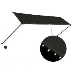 stradeXL Markiza zwijana z LED, 400 x 150 cm, antracytowa