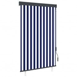 stradeXL Outdoor Roller Blind 120x250 cm Blue and White