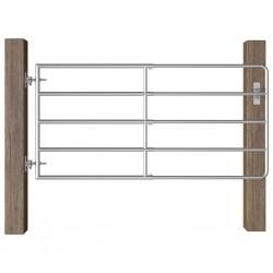 stradeXL Furtka do zagrody, 5 prętów, stal, (95-170)x90 cm, srebrna
