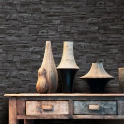 stradeXL Fizelonowa tapeta, 4 rolki, czarna, 0,53 x 10 m, wzór cegieł
