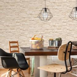 stradeXL Fizelonowa tapeta, 4 rolki, kremowa, 0,53 x 10 m, wzór cegieł