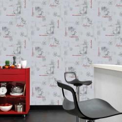 stradeXL Fizelinowa tapeta, 4 rolki, biała, 0,53 x 10 m, motyw kawy