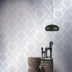 stradeXL Fizelinowa tapeta, 2 rolki, biała, 0,53 x 10 m, z ornamentem