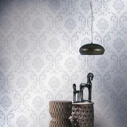 stradeXL Fizelinowa tapeta, 4 rolki, biała, 0,53 x 10 m, z ornamentem