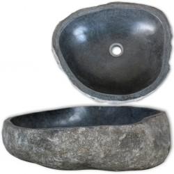 stradeXL Umywalka z kamienia rzecznego, owalna, 30-37 cm