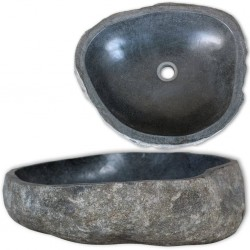 stradeXL Umywalka z kamienia rzecznego, owalna, 46-52 cm