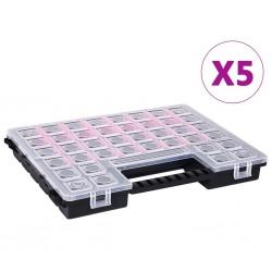 stradeXL Organizery, 5 szt., z przestawnymi przegródkami, 385x283x50 mm