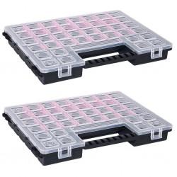 stradeXL Organizery, 2 szt., z przestawnymi przegródkami, 385x283x50 mm