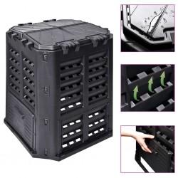 stradeXL Garden Composter Black 68.9x68.9x83.9 cm 360 L