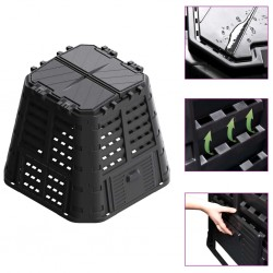 stradeXL Garden Composter Black 93.3x93.3x80 cm 480 L
