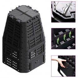 stradeXL Garden Composter Black 93.3x93.3x146 cm 1000 L