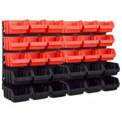 stradeXL 32-częściowy organizer na panelach ściennych, czerwono-czarny