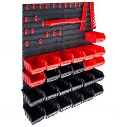 stradeXL 29-częściowy organizer na panelach ściennych, czerwono-czarny