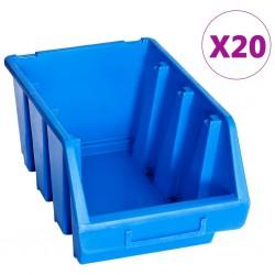 stradeXL Pojemniki sztaplowane, 20 szt., niebieskie, plastikowe