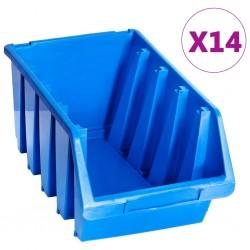 stradeXL Pojemniki sztaplowane, 14 szt., niebieskie, plastikowe