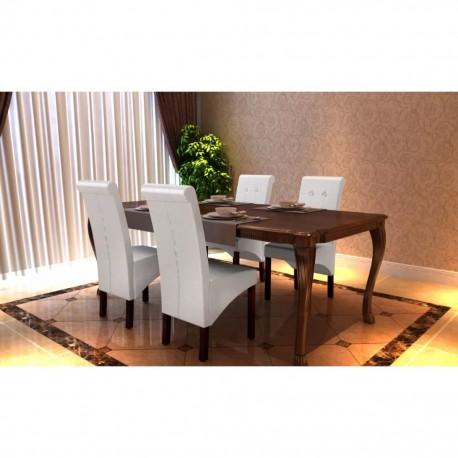 stradeXL Krzesła stołowe, 4 szt., białe, sztuczna skóra