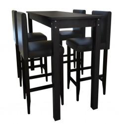 Stolik barowy z 4 krzesłami w kolorze czarnym