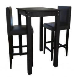 Stolik barowy z 2 krzesłami w kolorze czarnym