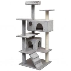 stradeXL Cat Tree with Sisal Scratching Posts 125 cm Grey