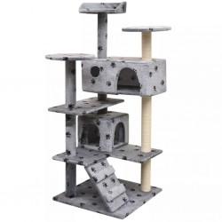 stradeXL Drapak dla kota, 125 cm, szary ze wzorem w kocie łapki