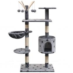 stradeXL Drapak dla kota, 125 cm, szary z wzorem w kocie łapki