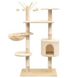 stradeXL Drapak dla kota z sizalowymi słupkami, 125 cm, kolor beżowy
