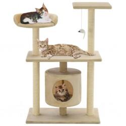 stradeXL Drapak dla kota ze sizalowymi słupkami, 95 cm, beżowy