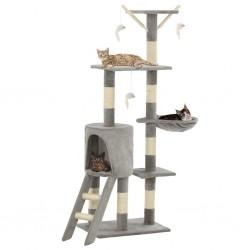 stradeXL Drapak dla kota z sizalowymi słupkami, 138 cm, szary