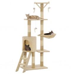 stradeXL Drapak dla kota z sizalowymi słupkami, 138 cm, beżowy