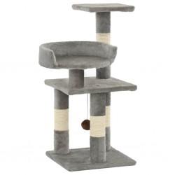 stradeXL Drapak dla kota ze słupkami sizalowymi, 65 cm, szary