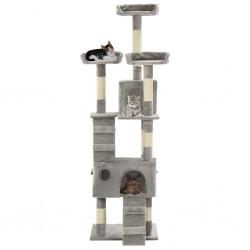 stradeXL Drapak dla kota z sizalowymi słupkami, 170 cm, szary