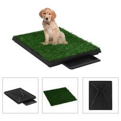 stradeXL Toaleta dla zwierząt z tacą i sztuczną trawą, zieleń, 63x50x7cm