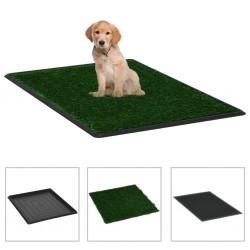 stradeXL Toaleta dla zwierząt z tacą i sztuczną trawą, zieleń, 64x51x3cm