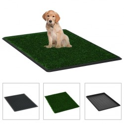 stradeXL Pet Toilet with Tray & Faux Turf Green 76x51x3 cm WC