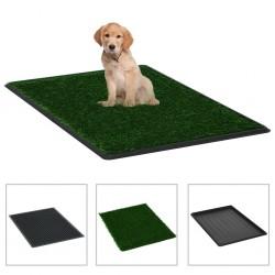 stradeXL Toaleta dla zwierząt z tacą i sztuczną trawą, zieleń, 76x51x3cm
