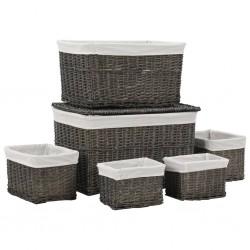 stradeXL 6 Piece Stackable Basket Set Grey Natural Willow