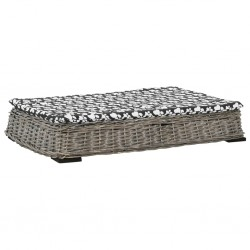 stradeXL Legowisko dla psa z poduszką, szare, 95x65x15 cm, wiklina