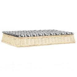 stradeXL Legowisko dla psa z poduszką, 110x75x15 cm, wiklina, płaskie