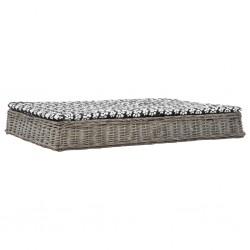 stradeXL Legowisko dla psa z poduszką, szare, 125x80x15 cm, wiklina