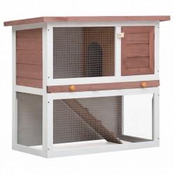stradeXL Outdoor Rabbit Hutch 1 Door Brown Wood