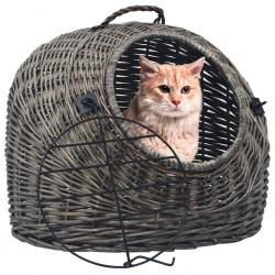 stradeXL Transporter dla kota, szary, 50x42x40 cm, naturalna wiklina